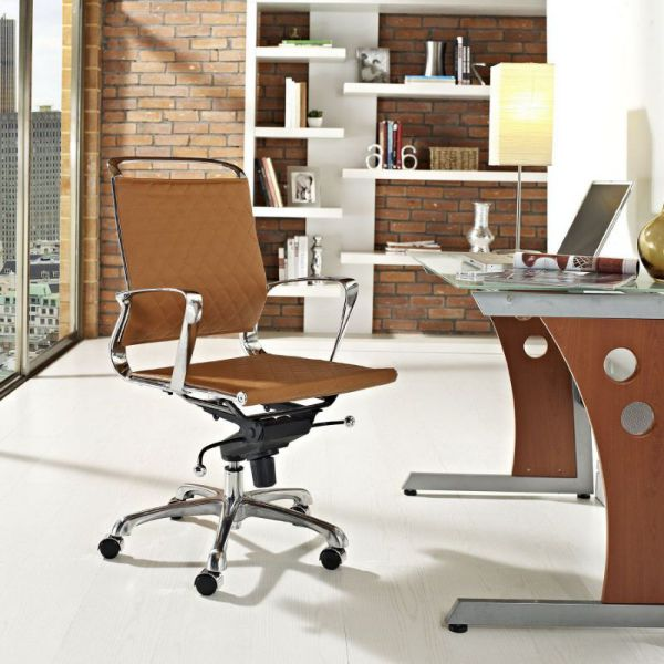LexMod Vibe Modern Leather Midback Office Chair in Tan