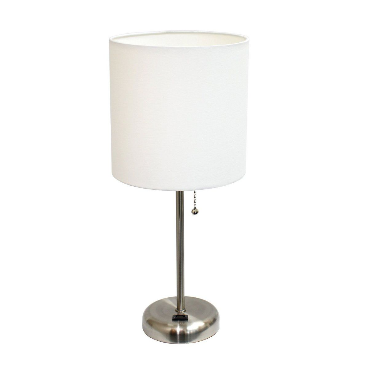 Limelights LT2024-WHT Stick Lamp with Charging Outlet and Fabric Shade