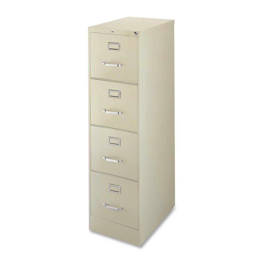 Lorell 4-Drawer Vertical File, 15 by 22 by 52, Putty