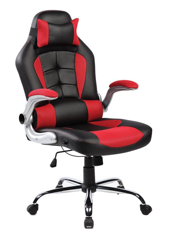 Merax High-Back Ergonomic Pu Leather Office Chair Racing Style Swivel Chair Computer Desk Lumbar Support Chair Napping Chair