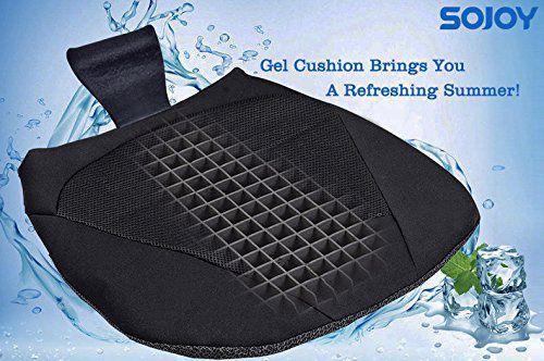 SOJOY Cooling Breathable ALL-Gel Cushion for Car Drivers Seat or Office Chair - Orthopedic Seat Cushion