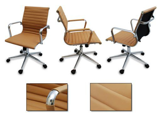 The Gianni Modern Ribbed Tan Low Back Chair with Tilt and Chrome Base