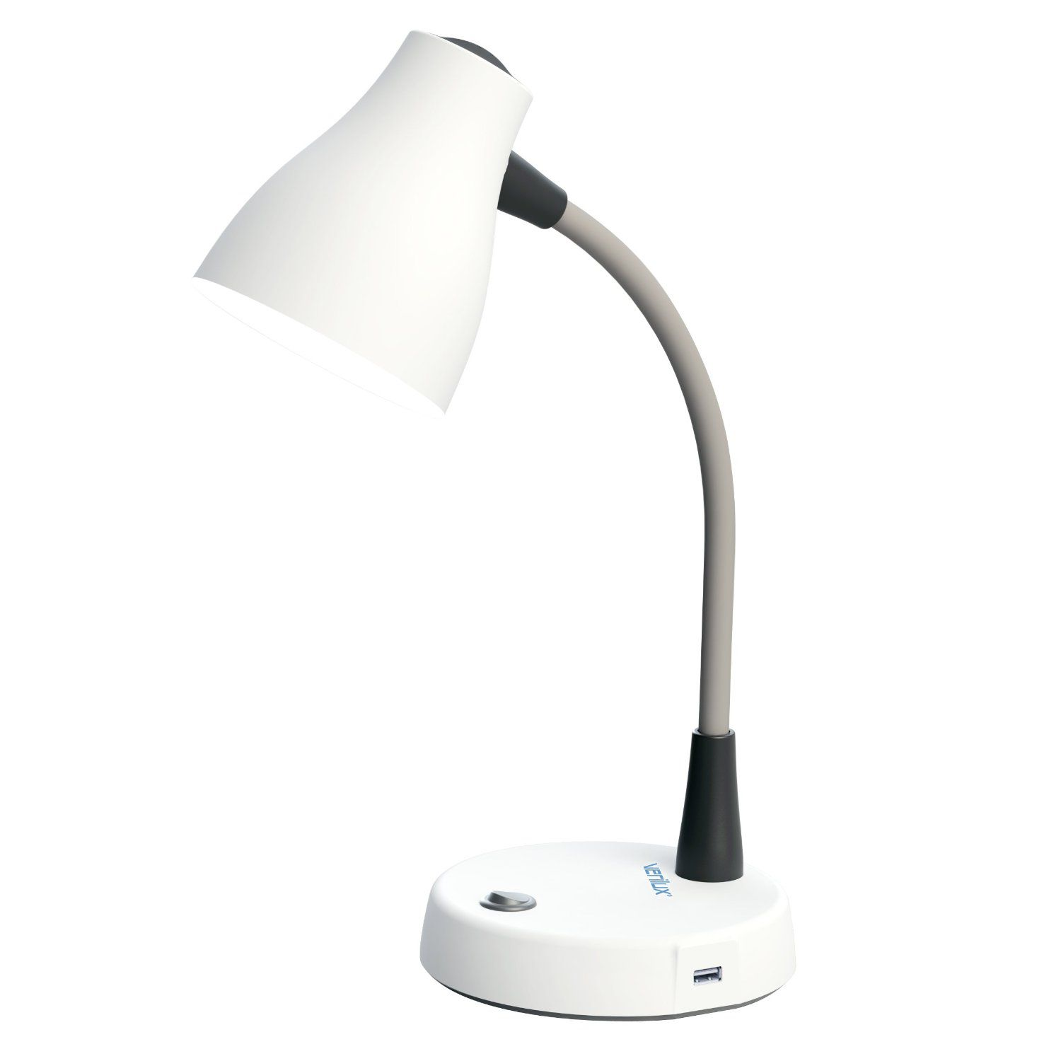 Verilux Tazza Natural Spectrum Desk Lamp with Outlet in Base, Adjustable EasyFlex Gooseneck, USB Charging Port