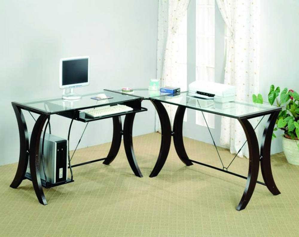 Glass Corner Desk Home Office Beauty Of Modern Glass Top Desk