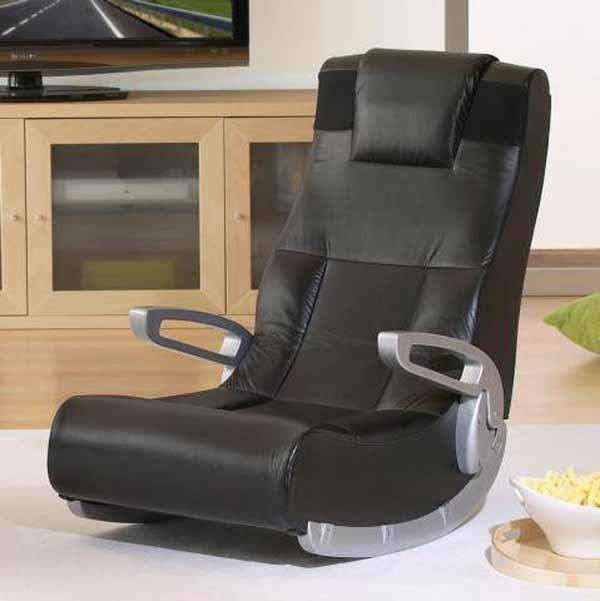 High Back Folding Floor Chair In Black