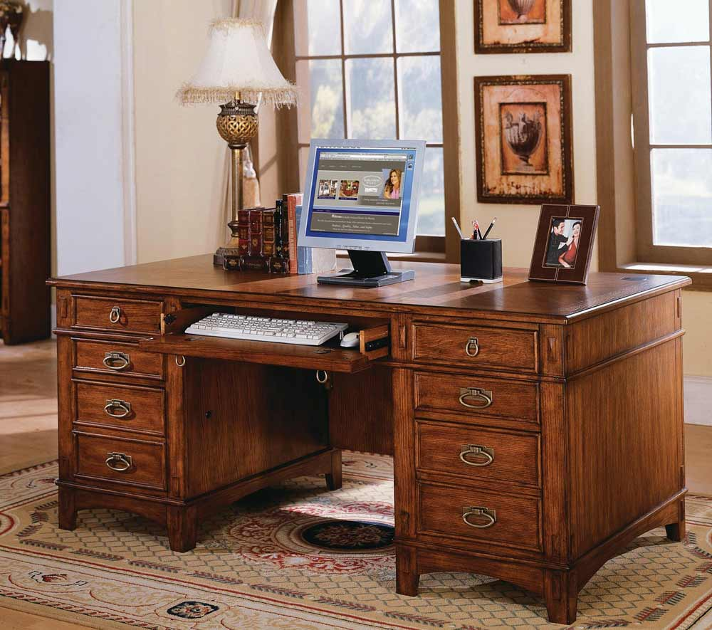 Kathy Ireland Mission Hills Computer Desk with Double Pedestal