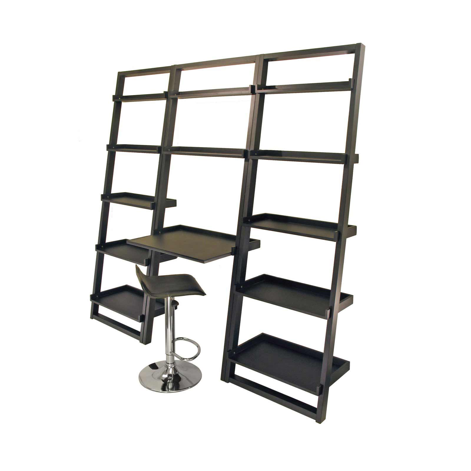 Leaning Wall Desk System Loft Black Shelves With Work