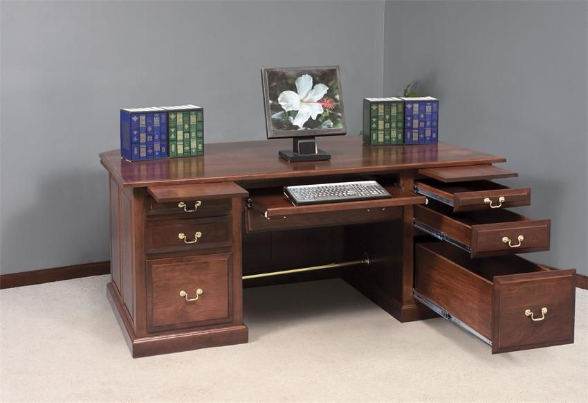 Amish Executive Desks for Home Office with Drawer