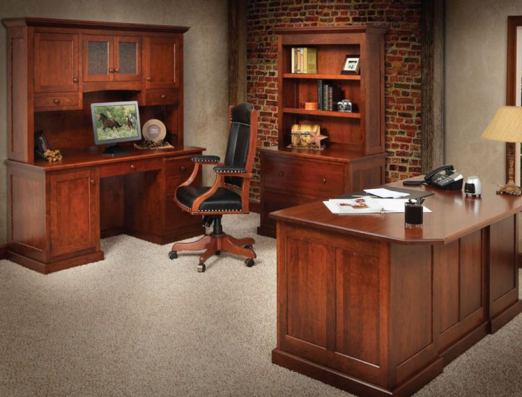 Amish Solid Wood Executive Desk Sets for Home Office