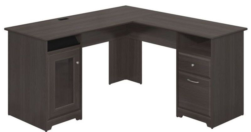 Bush Furniture Cabot Collection 60W L-Desk in Heather Gray
