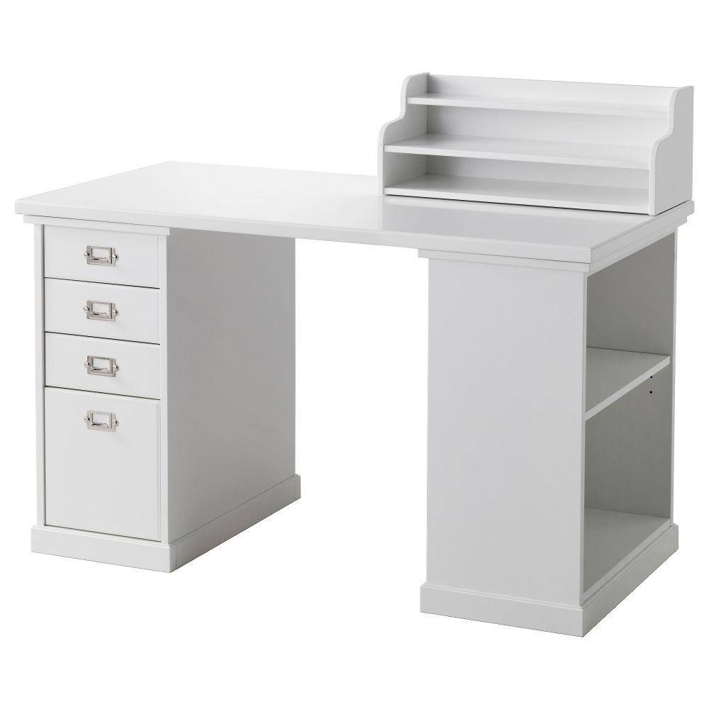 IKEA Klimpen white reception desk with storage
