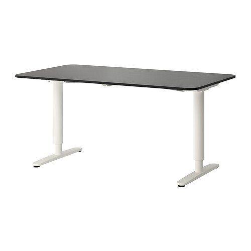 Ikea Bekant Desk Sit Stand, Black-Brown, White