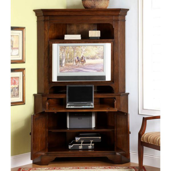 Small Corner Armoire With Multi-Functionalities