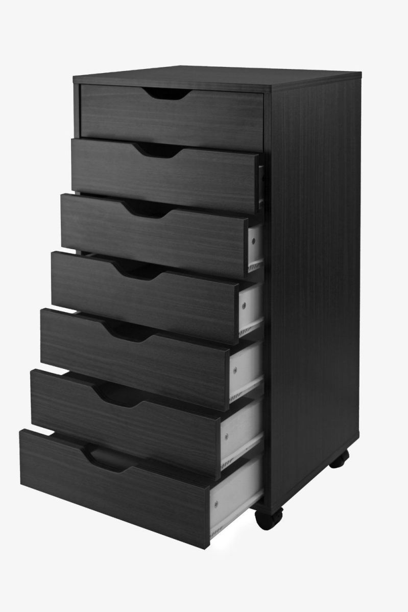 Winsome Halifax Cabinet for Closet Office, 7 Drawers, Black
